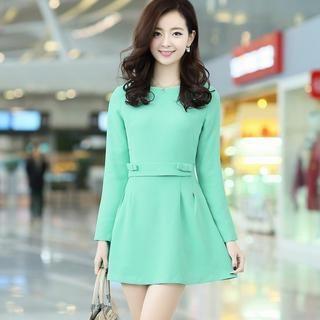 Aierys - Bow-Accent A-Line Dress