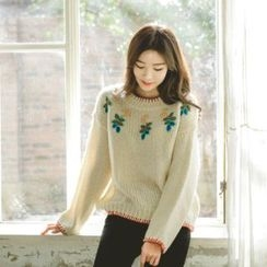 JUSTONE - Crew-Neck Overlock-Stitch Embroidered Sweater