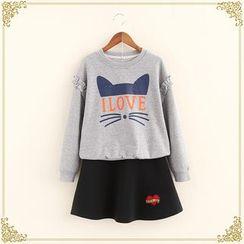 Fairyland - Set: Printed Sweatshirt + A-line Skirt