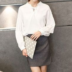 Athena - Long-Sleeve Plain Tie-Neck Blouse