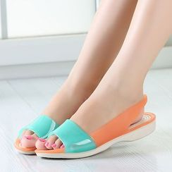 Creamy Blue - Color Block Sandals