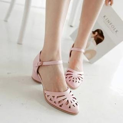Pastel Pairs - Laser Cut Low Block Heel Sandals