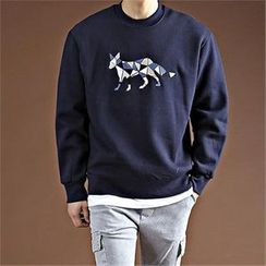 THE COVER - Round-Neck Embroidered Pullover