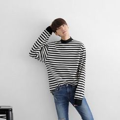 Seoul Homme - Mock-Neck Long-Sleeve Striped T-Shirt
