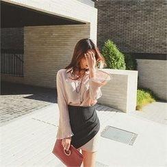 ERANZI - Contrast-Trim Shirred Stripe Mini Skirt