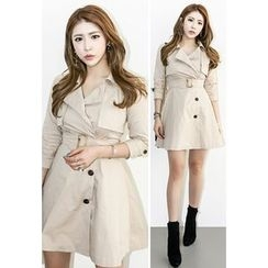 INSTYLEFIT - 3/4-Sleeve A-Line Coatdress with Belt