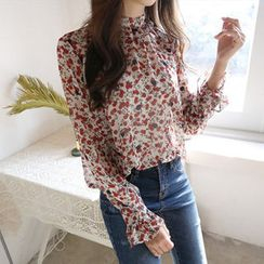 Hello sweety - Frill-Trim Floral Print Chiffon Top