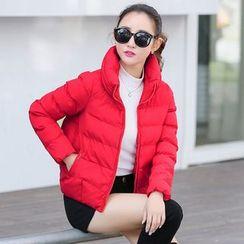 NINETTE - Plain Stand-Collar Padded Zip Jacket