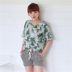 Cocopop - Round-Neck Patterned T-Shirt