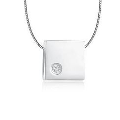 MBLife.com - Left Right Accessory - 9K/375 White Gold Polish Finish Square Cube Diamond Necklace 16' (0.006 ct)