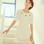 Angel Love - Beaded Chiffon-Sleeve Lace Dress