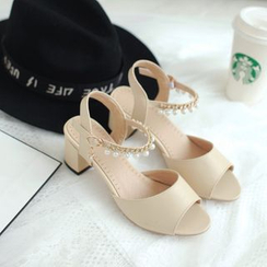 Pastel Pairs - Faux Pearl Ankle Strap Block Heel Sandals