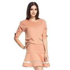 O.SA - Set: Buttoned-Sleeve Top + Mesh-Panel Skirt