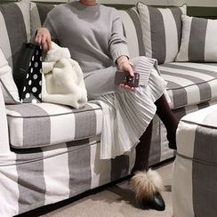 DISCOSALON - Layered Pleated-Hem Knit Dress