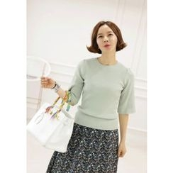 Lemite - Elbow-Sleeve Ribbed Knit Top