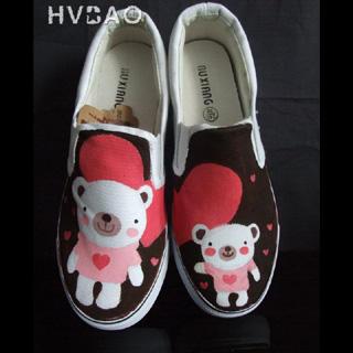 HVBAO - 'Teddy Bear Love' Canvas Slip-Ons