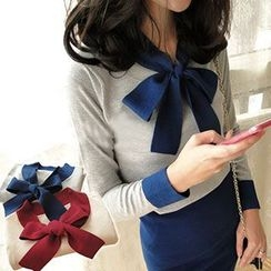 NANA Stockings - Set: Ribbon-collar Knit Top + Midi Skirt