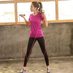 PUDDIN - Sports Set: Short-Sleeve Top + Skinny Pants