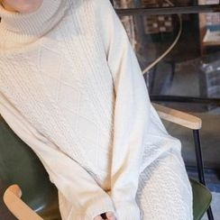 mimi&didi - Turtle-Neck Wool Blend Long Cable-Knit Dress