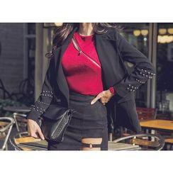 UUZONE - Studded Double-Breasted Jacket