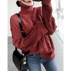 UPTOWNHOLIC - Turtle-Neck Cable-Knit Top