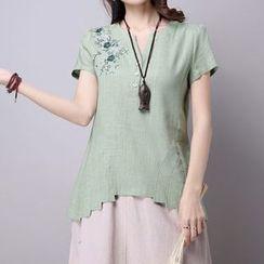 NINETTE - Short-Sleeve Embroidered Top