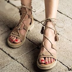MIAOLV - Tasseled Genuine Leather Sandals