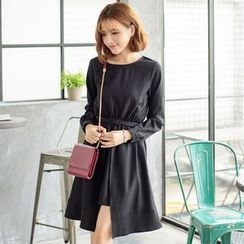 Tokyo Fashion - Belted Slit-Front Sheath Dress