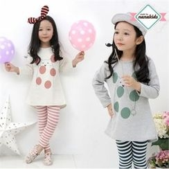 nanakids - Girls Set: Cat Print Long T-Shirt + Stripe Leggings