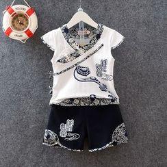 KUBEBI - 童裝套裝: 中式短袖T恤 + 短褲