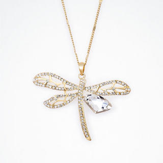 Moonbasa - Rhinestone Dragonfly Necklace