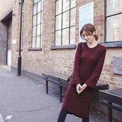 mimi&didi - Raglan-Sleeve Rib-Knit Long Dress