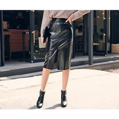 HOTPING - Slit-Front Faux-Leather Skirt