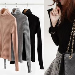 NIPONJJUYA - Turtle-Neck Slim-Fit Rib-Knit Top
