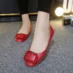Monde - 方形扣子平跟鞋