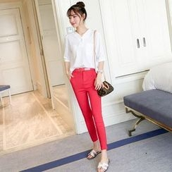 Colorful Shop - Set: Elbow-Sleeve Blouse + Plain Pants