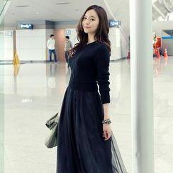 REDOPIN - Mock Two-Piece Tulle Midi Dress