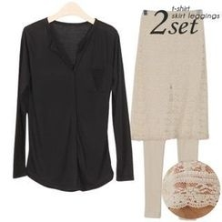 Ho Shop - Set: Open-Placket Pocket-Front T-Shirt + Inset Lace-Skirt Leggings