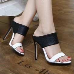 Mancienne - Color-Block High-Heel Slide Sandals