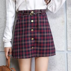 Jolly Club - Buttoned A-Line Plaid Skirt