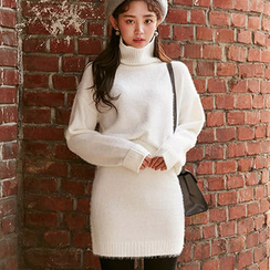 chuu - Set: Turtle-Neck Furry-Knit Top + Mini Skirt