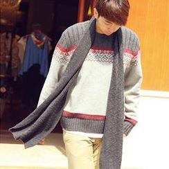 Thantrue - Snowflake-Pattern Knit Wool Scarf