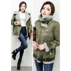 INSTYLEFIT - Diagonal-Zip Faux-Shearling Jacket