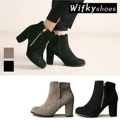 Wifky - Chunky-Heel Faux-Suede Ankle Boots