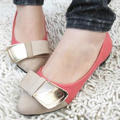 IYATO - Bow-Accent Color-Block Flats