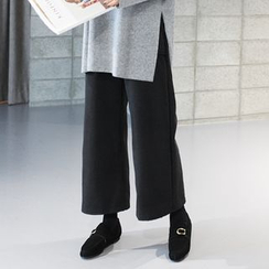 STYLEBYYAM - Wool Blend Band-Waist Wide-Leg Pants