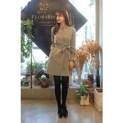 CHERRYKOKO - Mandarin-Collar Faux-Suede Shirtdress with Sash
