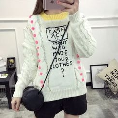 Acoustic Rain - Lettering Cable-Knit Sweater