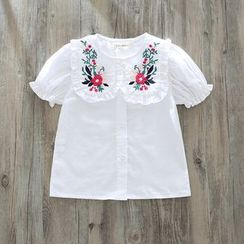 Cuckoo - Kids Flower Embroidered Frill Trim Short Sleeve Blouse