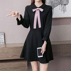 Fashion Street - Ribbon Long-Sleeve Dress